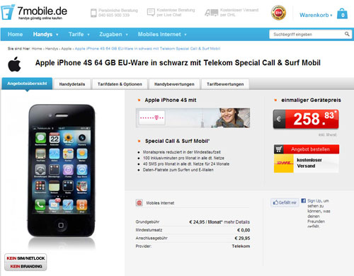 Apple iPhone 4S 64GB EU-Ware mit Telekom Special Call