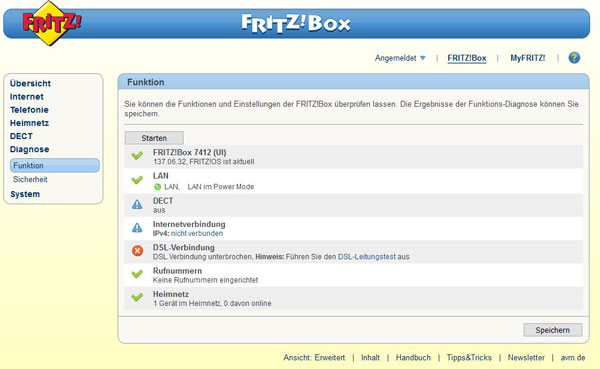 FRITZ!Box 7412 ohne WLAN screenshot