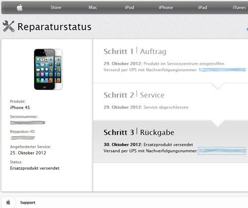 iPhone 4S reparatur status