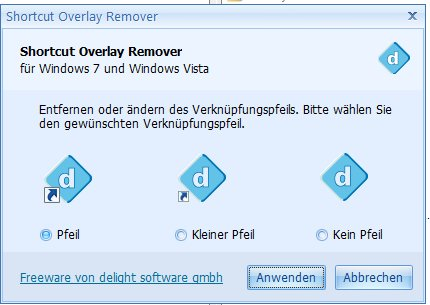 Shortcut Overlay Remover für Windows 7