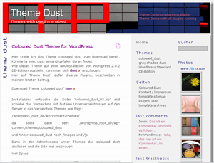 WordPress Theme shaded dust